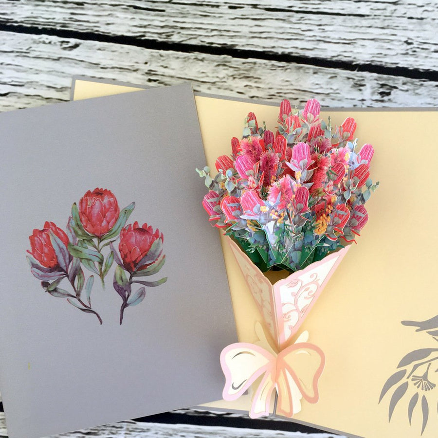 Handmade Australian Native Flower Banksia Bouquet Pop Up Greeting Card - Online Party Supplies