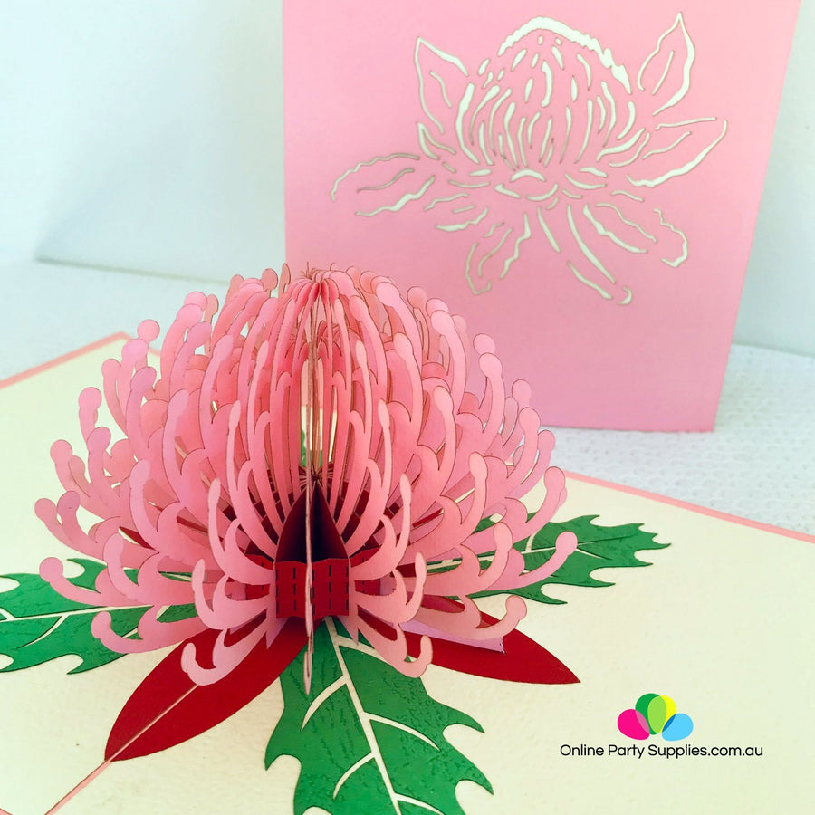 Handmade Australian Native Flower Pink Waratah Pop Up Greeting Card - Online Party Supplies