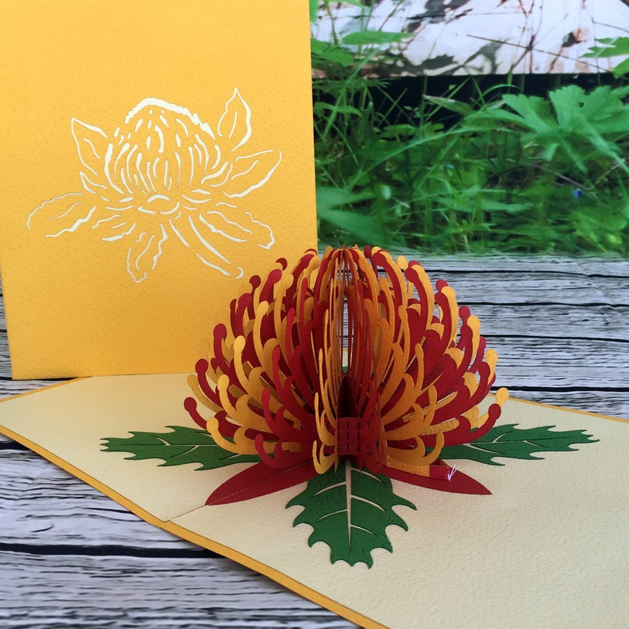 Handmade Australian Native Flower Red Yellow Waratah Pop Up Greeting Card