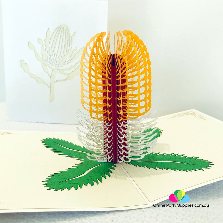 Handmade Australian Native Flower Yellow White Banksia Pop Up Greeting Card - Online Party Supplies