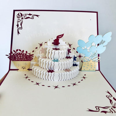 Handmade Birthday Cake Pop Up Card - Online Party Supplies