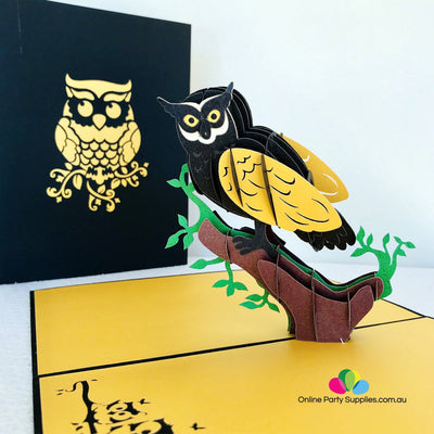Handmade Black Yellow Owl Pop Up Greeting Card - Online Party Supplies