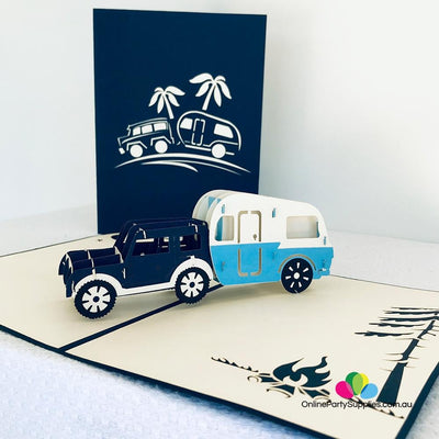 Handmade Blue 4WD Towing Vintage Caravan Pop Up Card - Online Party Supplies