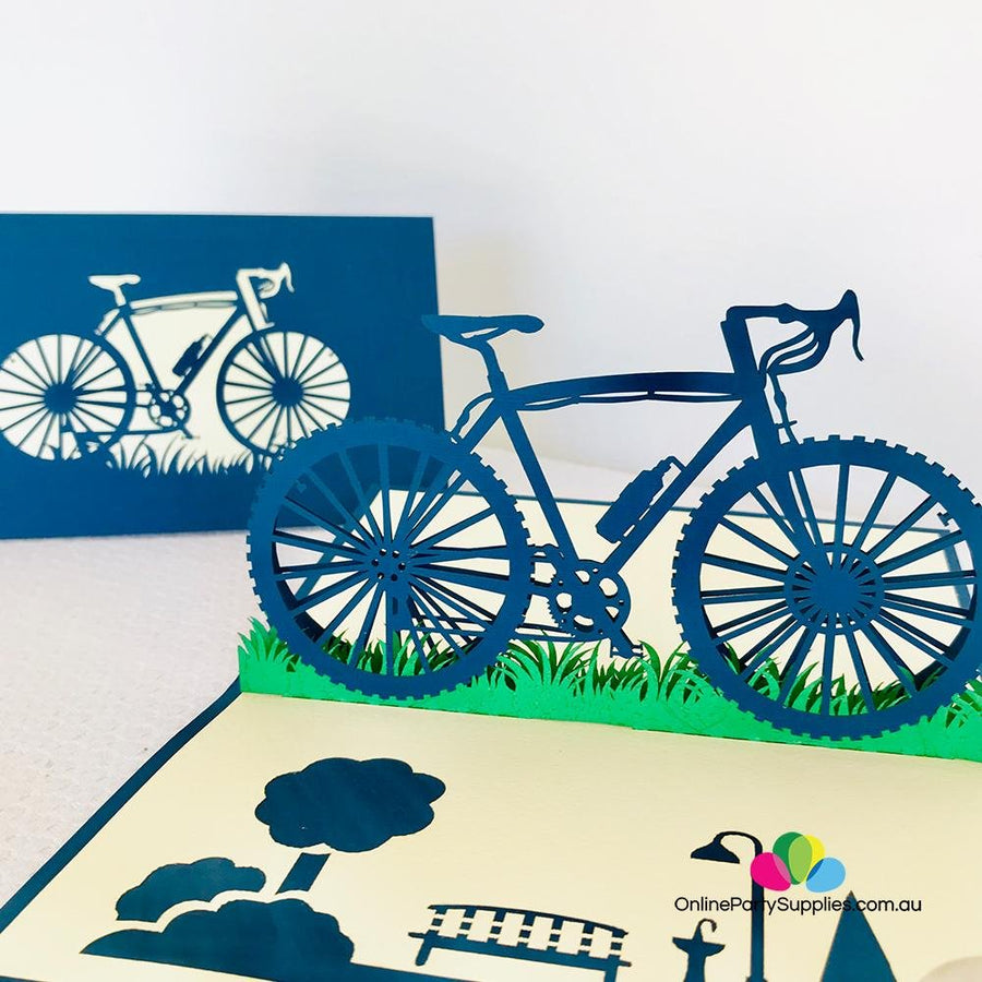 Handmade Blue Bicycle Pop Up Card - Online Party Supplies