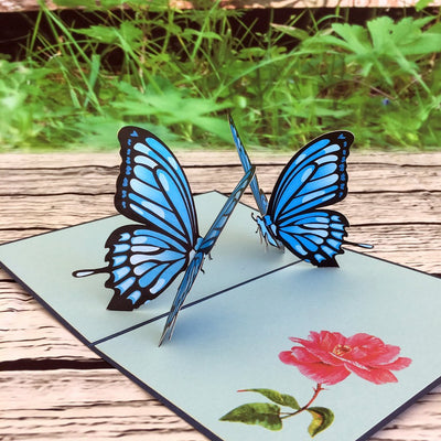 Handmade Blue Butterfly Pop Up Greeting Card - Online Party Supplies