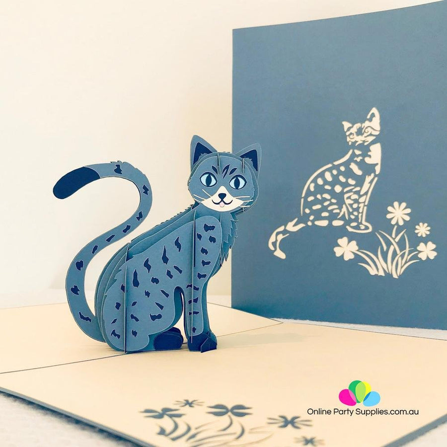 Handmade Blue Cat Pop Up Greeting Card - Online Party Supplies