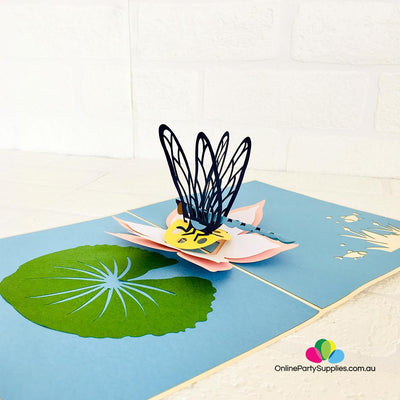 Handmade Blue Dragonfly Landing on Lotus Pop Up Card - Online Party Supplies