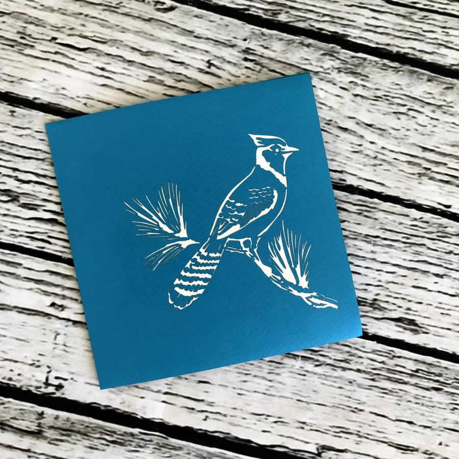 Handmade Blue Jay Bird 3D Pop Up Greeting Card