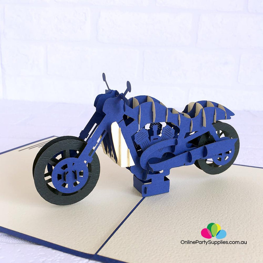 Handmade Blue Motorbike Pop Up Card - Online Party Supplies
