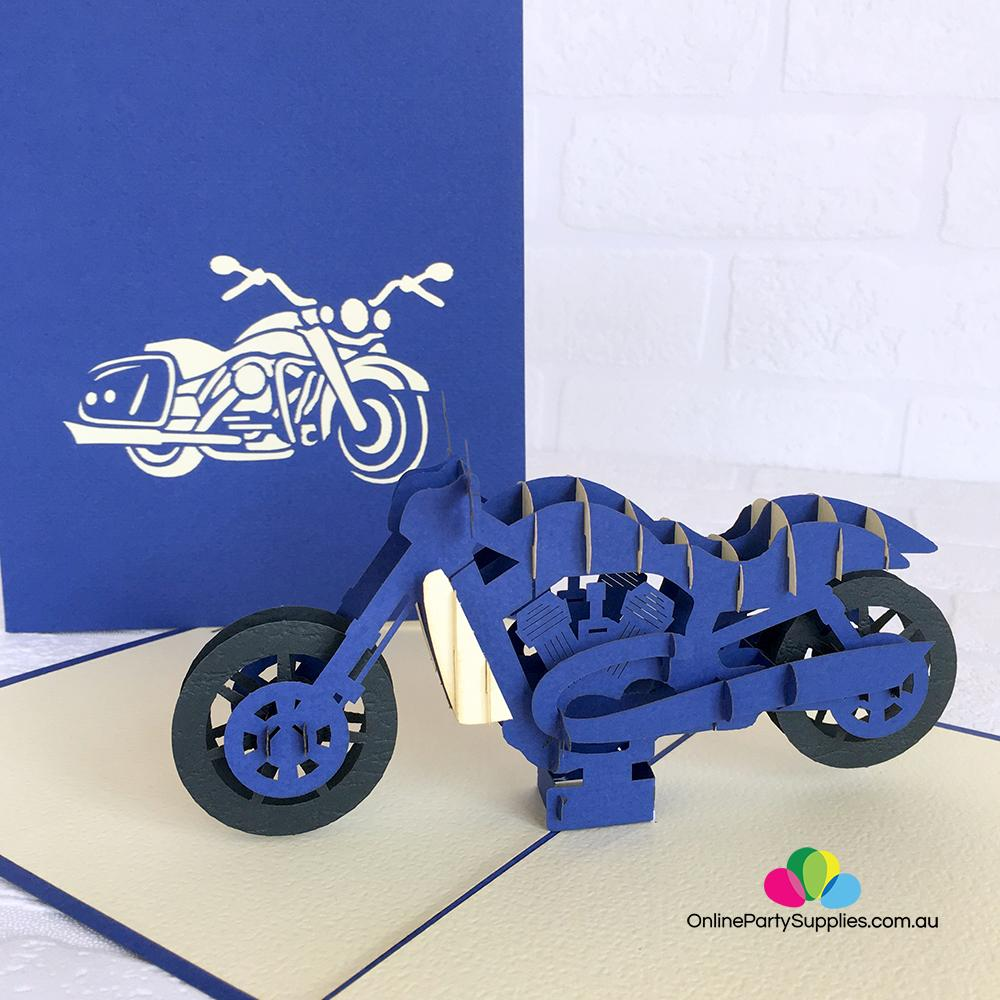 Handmade Motorbike themed birthday// any occasion pop up card