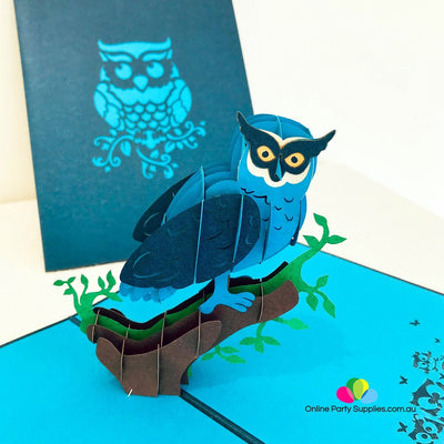 Handmade Blue Owl Pop Up Greeting Card - Online Party Supplies