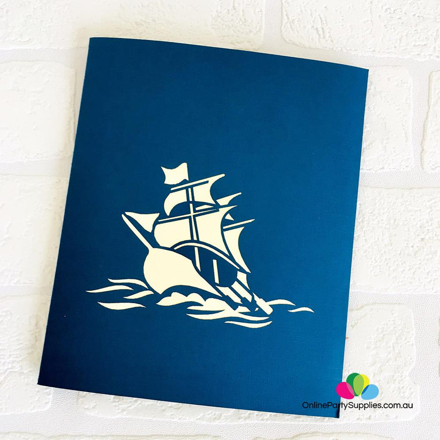 Handmade Blue Viking Ship Pop Up Card - Online Party Supplies