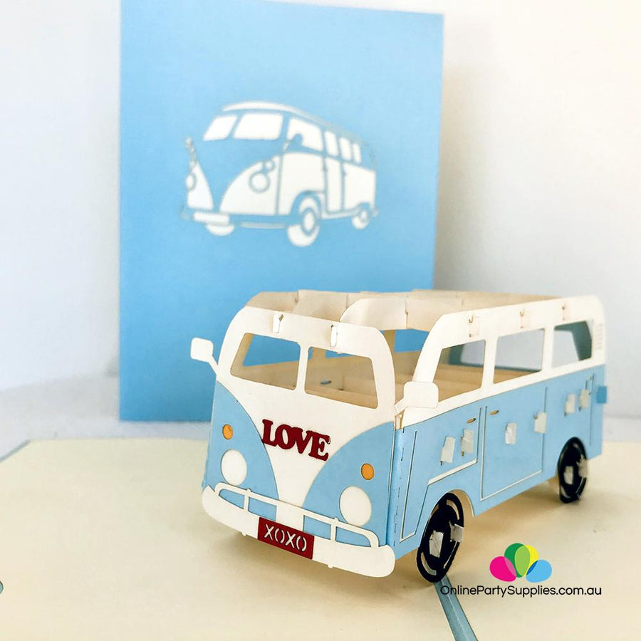 Handmade Blue Vintage VW Kombi Camper Pop Up Card - Online Party Supplies