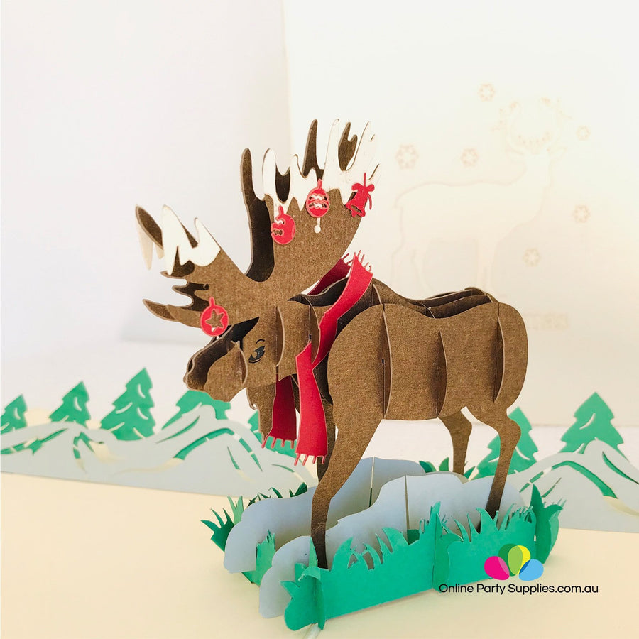 Handmade Brown Christmas Moose Pop Up Greeting Card - Online Party Supplies