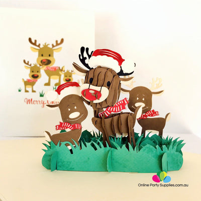Handmade Brown Christmas Reindeer Family Pop Up Xmas Card - Online Party Supplies