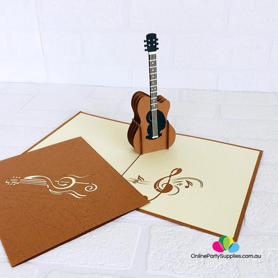 Handmade Brown Guitar 3D Pop Up Card - Online Party Supplies
