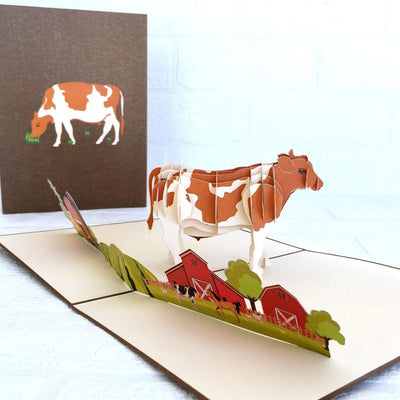 Handmade Online Party Supplies Brown and White Australian Cow 3D Animal Pop Up Birthday Card