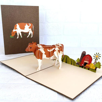 Handmade Online Party Supplies Brown and White Australian Cow 3D Animal Pop Up Card