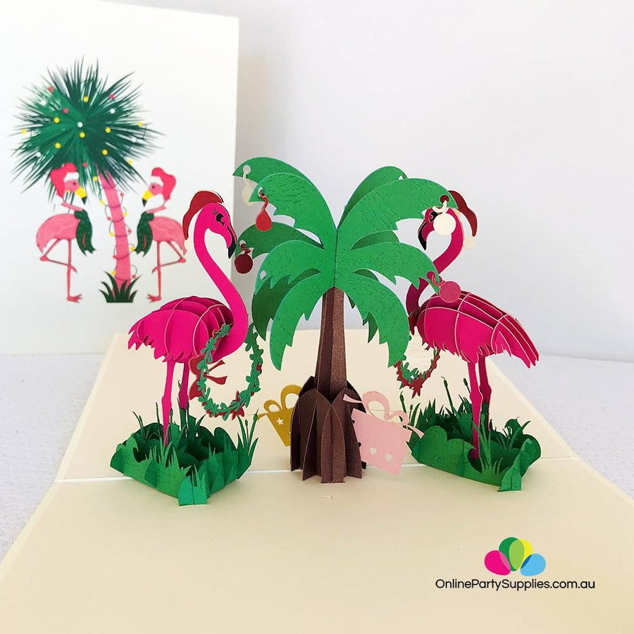 Handmade Christmas Pink Flamingos 3D Pop Up Card - Online Party Supplies