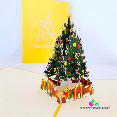 Handmade Christmas Tree Pop Up Greeting Card - Online Party Supplies