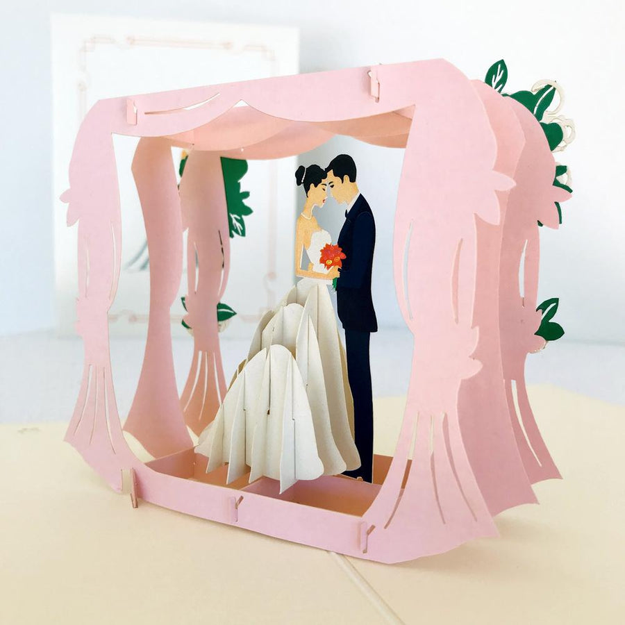Handmade Classic Ivory Wedding Under Pink Curtains Pop Up Card - 3D Wedding Invitations - Online Party Supplies