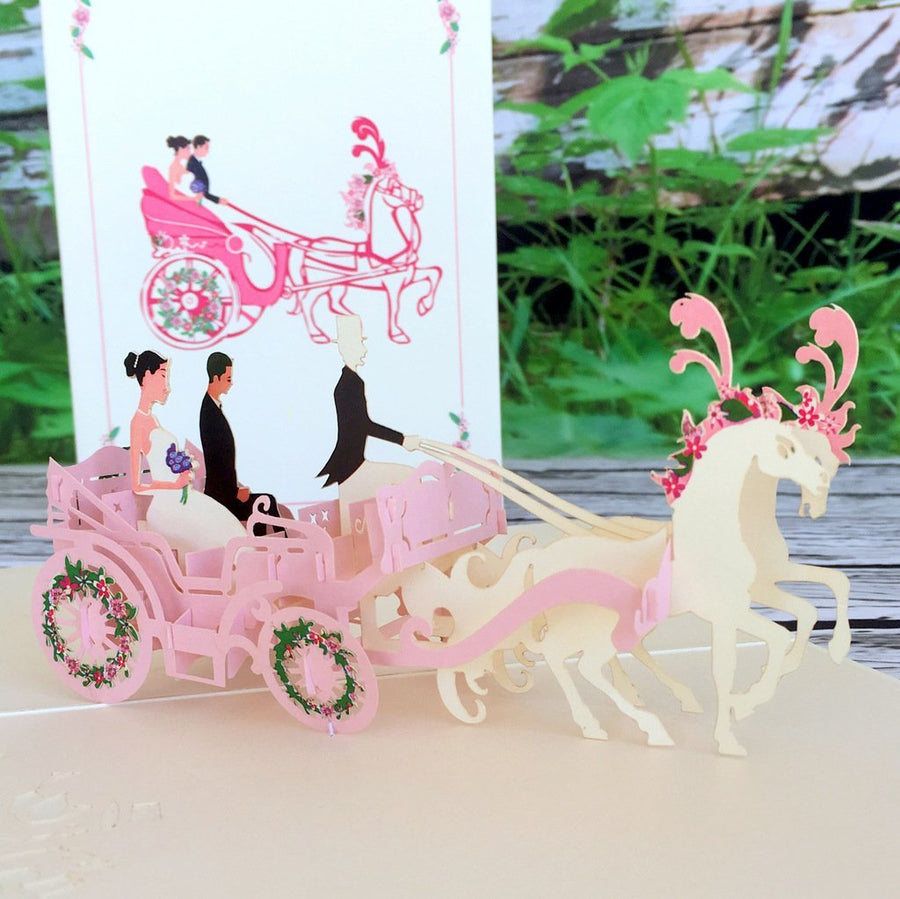 Handmade Classic Pink Wedding Horse Carriage Pop Up Card - 3D Wedding Invitations - Online Party Supplies