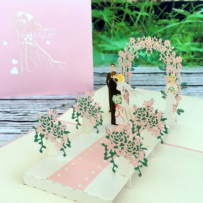 Handmade Classic Pink Wedding With Bridesmaid and Best man 3D Pop Up Card - Online Party Supplies