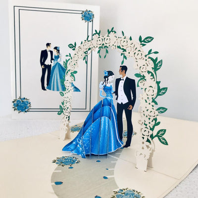 Handmade Classic Sapphire Wedding Pop Up Card - 3D Wedding Invitations - Online Party Supplies