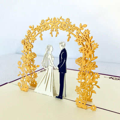 Handmade Classic Wedding Pop Up Card - 3D Wedding Invitations - Online Party Supplies