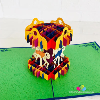 Handmade Colourful Carousel Merry Go Round 3D Pop Up Card - Online Party Supplies