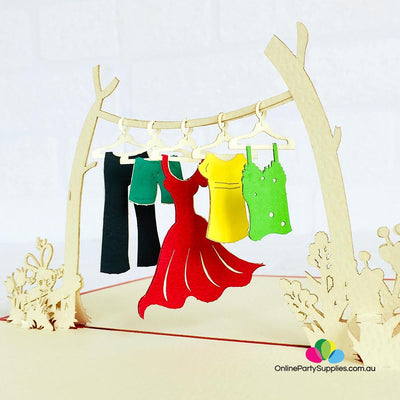 Handmade Colourful Clothesline 3D Pop Up Card - Online Party Supplies