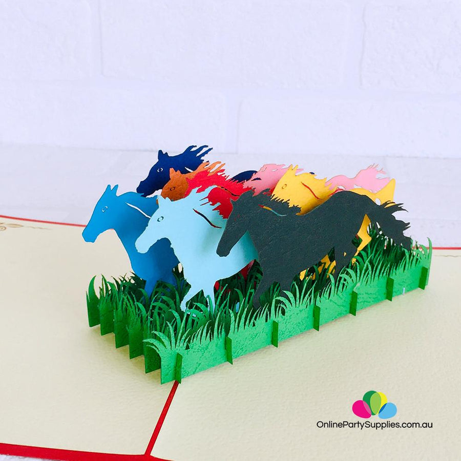 Handmade Colourful Free Roaming Wild Horses 3D Pop Up Greeting Card - Online Party Supplies