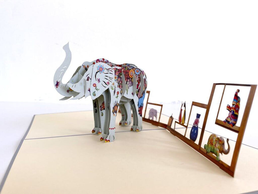 Handmade Colourful Hand Painted Elephant 3D Pop Up Card