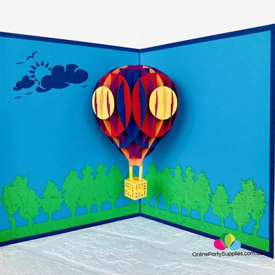 Handmade Colourful Hot Air Balloon 3D Pop Up Card - Blue Cover - Online Party Supplies