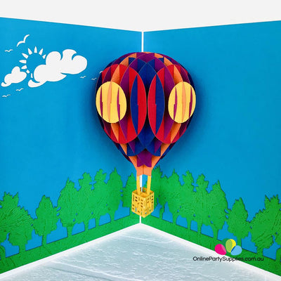 Handmade Colourful Hot Air Balloon 3D Pop Up Card - White Cover - Online Party Supplies