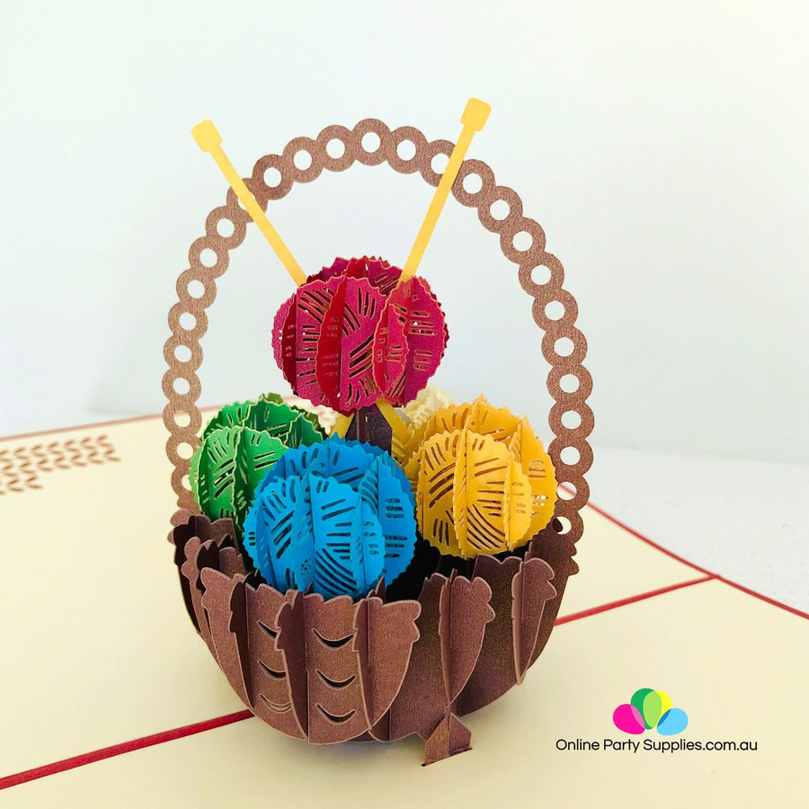Handmade Colourful Knitting Yarn Basket Pop Up Greeting Card - Online Party Supplies