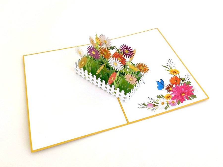Handmade Colourful English Daisy Garden 3D Pop Up Greeting Card - Mother's Day, Valentine's Day Pop Up Cards - Wedding Invitations