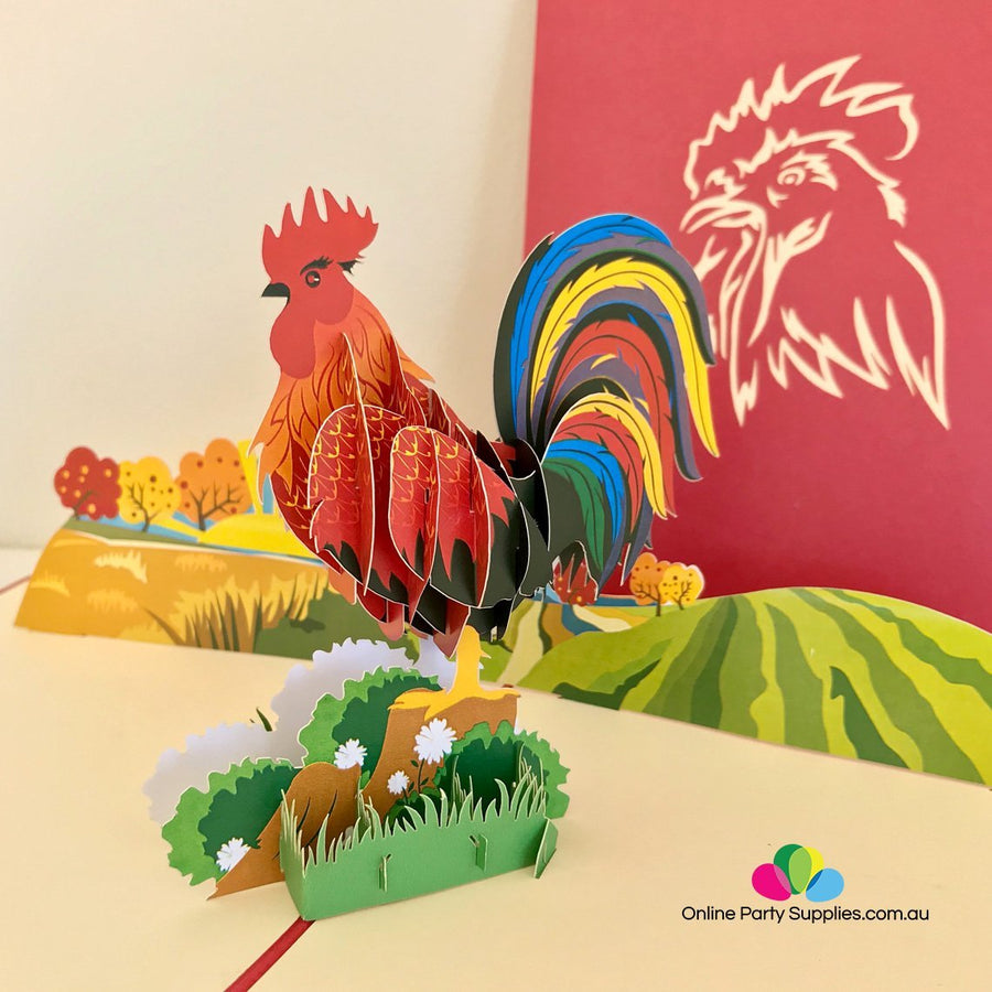 Handmade Colourful Rooster 3D Pop Up Greeting Card - Online Party Supplies