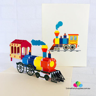 Handmade Colourful Steam Locomotive Pop Up Card - Online Party Supplies