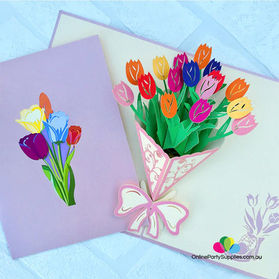 Handmade Colourful Tulip Flower Bouquet 3D Pop Up Card - Online Party Supplies