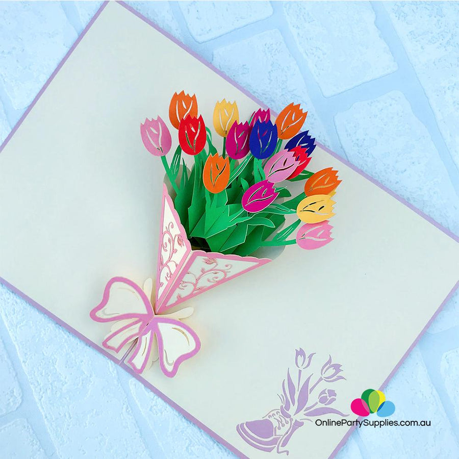 Handmade Colourful Tulip Flower Bouquet 3D Pop Up Card