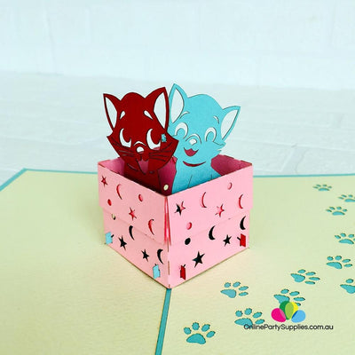 Handmade Cute Kittens in Pink Box 3D Pop Up Birthday Card - Online Party Supplies