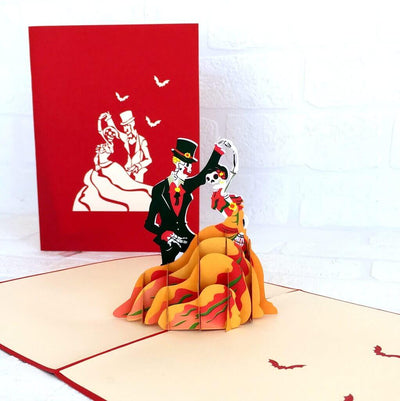 Handmade Skeleton Wedding Couple Dancing Halloween Pop Up Greeting Card for her or him