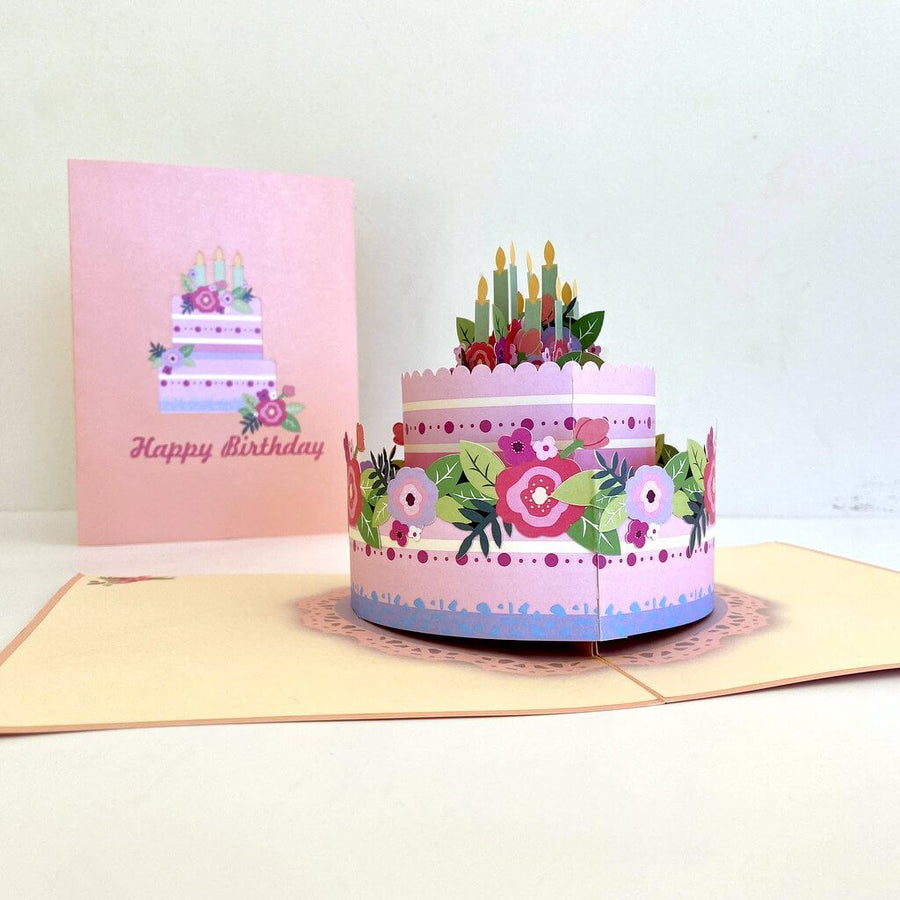 Handmade Giant Birthday Cake 3D Pop Up Greeting Card - 3D Pop-Out Cards for Birthdays, Weddings, Baby Showers, Bridal Showers