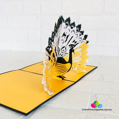 Handmade Gold and Black Peacock Pop Up Greeting Card - Online Party Supplies
