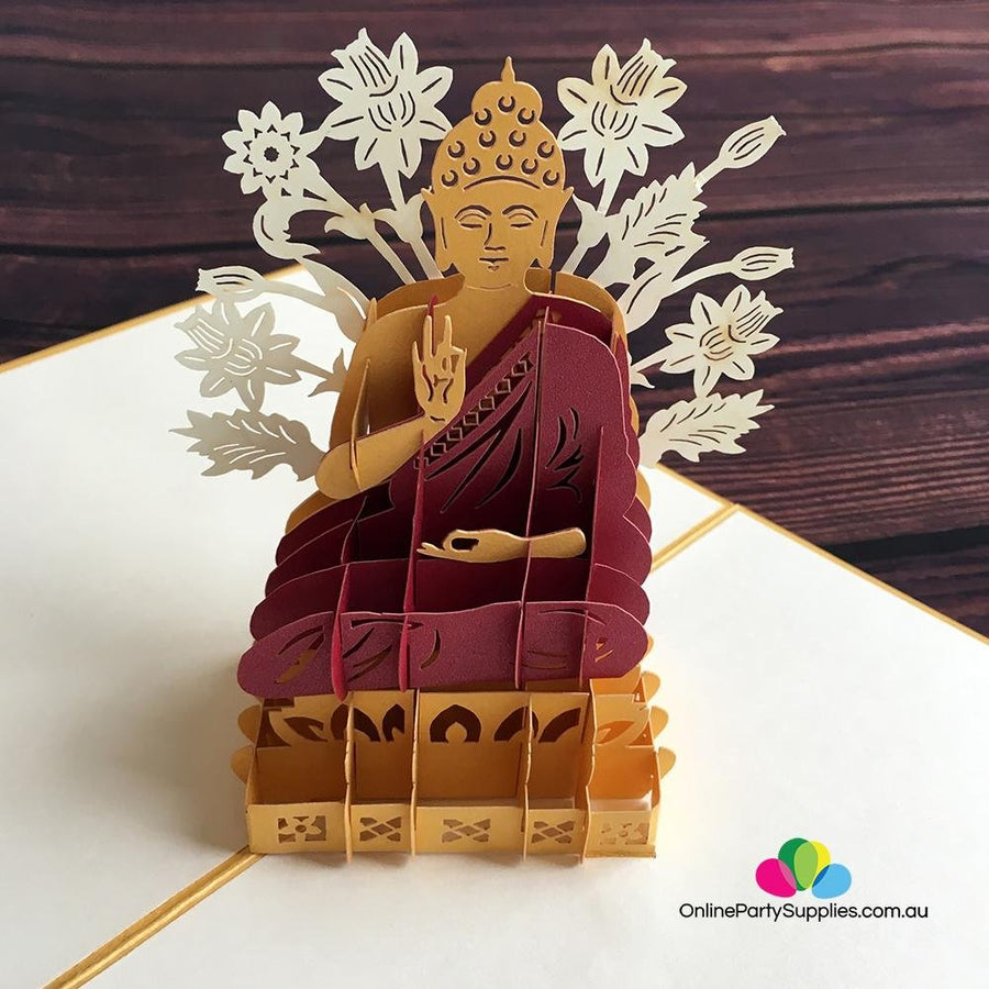 Handmade Gold Sitting Buddha In Meditation 3D Pop Up Card - Online Party Supplies