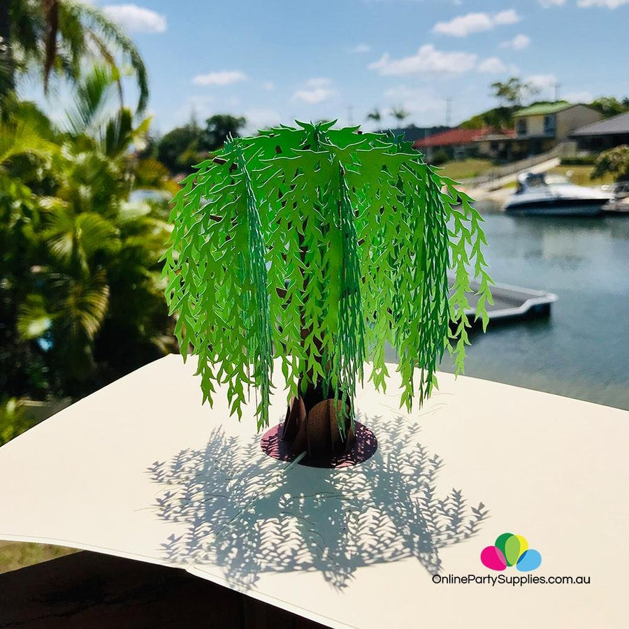 Handmade Green Willow Tree 3D Pop Up Card - Online Party Supplies