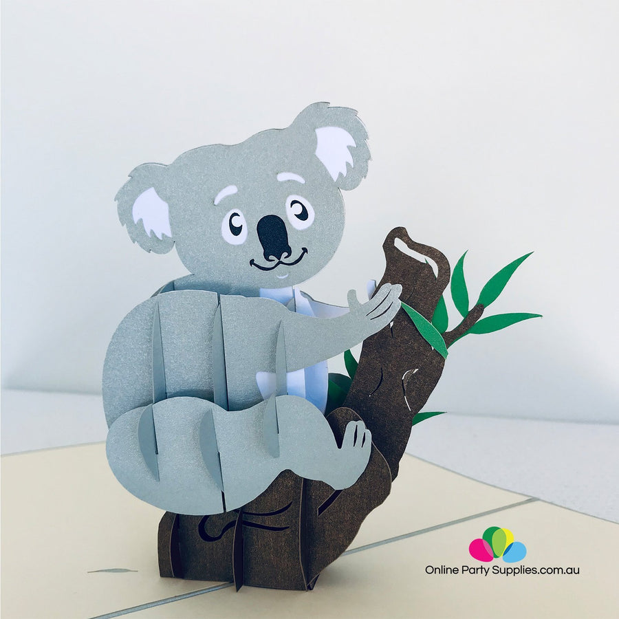 Handmade Grey Koala 3D Pop Up Greeting Card - Online Party Supplies