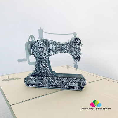 Handmade Grey Vintage Sewing Machine 3D Pop Up Card - Online Party Supplies