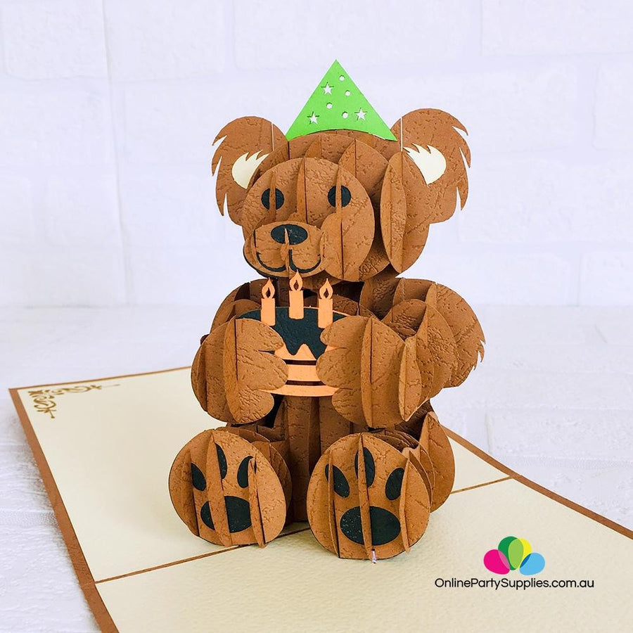 Handmade Happy Birthday Brown Teddy Bear 3D Pop Up Card - Online Party Supplies